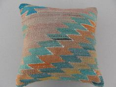 "Modern Bohemian Home Decor , Embroidered Handwoven Striped Vintage Tribal Turkish Kilim Pillow cover 16"" x 16"". $72.00, via Etsy."