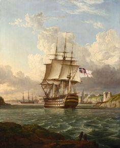 hms britannia leaving a mediteranean harbour 1830