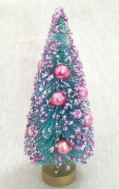 "Vintage 6"" AQUA BLUE with PINK GLITTER + GLASS BEADS Bottle Brush Christmas Tree…"