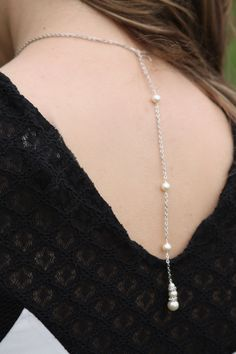Simgle Pearl bridal lariat, Lariat, Back drop necklace, Wedding jewelry, Crystal necklace, Bridesmaids Gift, Pearl Necklace Earrings Set by simplychic93 on Etsy