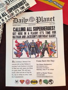 Superhero birthday party invitations I made using Word. I downloaded free newspaper fonts and found the images on Google. After folding them, I tied each one with baker's twine and secured the envelopes with superhero washi tape!