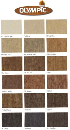 Ebony cinder Black Oak Dark Tahoe Coffee Espresso Teak Tobacco Black Walnut Olive Brown Dark Oak Ginger Cape Cod Gray Pearl Gray Light Oak Aspen Tan Driftwood Grey Light Mocha Olympic semi-transparent color choices fence sealers stains protection