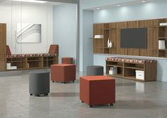 National Office Furniture Whimsy Impromptu Seating and WaveWorks Casegoods