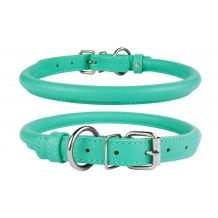 Rolled Round Leather Dog Collar Mint Green Miniature Toy Small Medium Extra Large Breeds