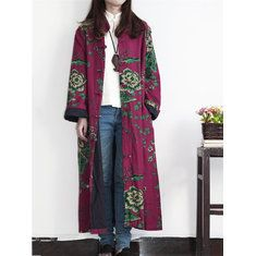 Vintage Printed Stand Collar Jacquard Long Coat - Newchic Plus Size Outerwear Mobile