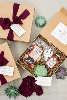 Need a unique and creative gift idea? Take advantage of our custom gift design services at Marigold & Grey. Design your next gift box for your wedding, baby shower, corporate event, or just because. Image: Lissa Ryan Photography