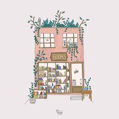Book store Illustration. Books. Librería.