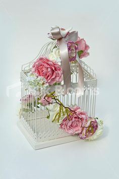 bird cage arrangements | Bird Cage Wedding Table Display Ivory & Pink Rose Classic Vintage Bird ...