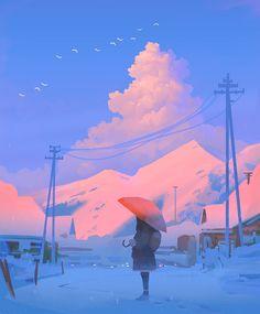 Red by Gydw1n on DeviantArt Sky Digital, Digital Art Anime, Digital Art Girl, Elven City, Sad Wallpaper, Iphone Wallpaper, Image Painting, Art Station, Natural Phenomena