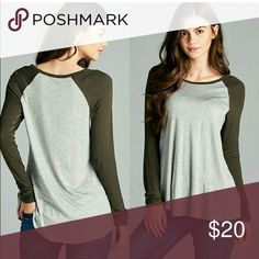 Olive baseball tee ⚾️ Perfect color for the fall and so incredibly soft. Easily layered for the colder nights. Perfect for every girl in every closet!💕 95%rayon 5%spandex.  I am modeling a size small and I'm 5 4' 115 pounds normally a xs or small. So they fit 💯 % true to size. Currently trying not to keep one for myself 😅 great gift for yourself or for a friend or family member for Christmas 🎄 they'll love it! Tops Tees - Long Sleeve