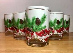 Vintage Neiman Marcus Christmas Lowball Tumbler Glasses Set Of 6 Bows Reindeer | eBay