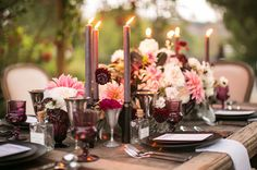 Moody dark purple inspiration designed by Esoteric Events with Archive Rentals and Florals by krista jon for Archive. Purple, cream + blush color palette for late summer + early fall celebrations. Photos by Samuel Lippke Studios at Shady Canyon Gold Club.