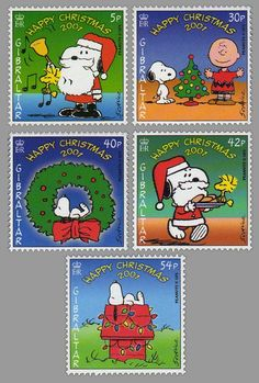 Christmas  postage stamps featuring Charlie Brown and Snoopy