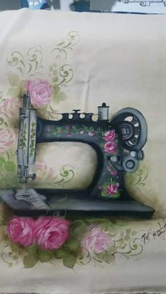 26 Best Ideas for painting fabric machine embroidery Embroidery Leaf, Sewing Machine Embroidery, Hand Embroidery Designs, Embroidery Patterns, Tole Painting, Fabric Painting, Country Paintings, Sewing Art, Decoupage Paper