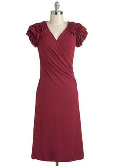Essence of Cranberry Dress, #ModCloth. If only this came in mint! Love the simple style with detailed sleeves. $49.99