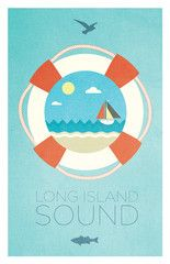 Long Island Sound sailing-inspired Nautical Print. From the New York States of Mind Marketplace. Designed and made in Brentwood, NY by Empire One Studios.