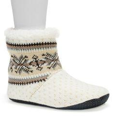 Look at this #zulilyfind! Vanilla Geometric Bootie Slippers - Women #zulilyfinds