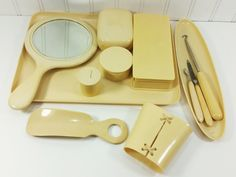 Ivory Py-Ra-Lin Vanity Set, Early 1900s Celluloid Bath Accessory 13 piece Toiletry Set by naturegirl22 on Etsy
