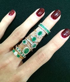 Which one is your favourite Emerald ring? #thediamondstoreuk #rings #jewellery #emerald #diamonds #sparkle