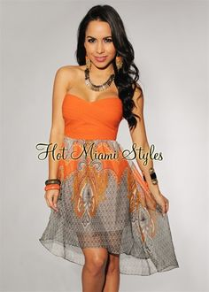 Orange Paisley Print Strapless Dress