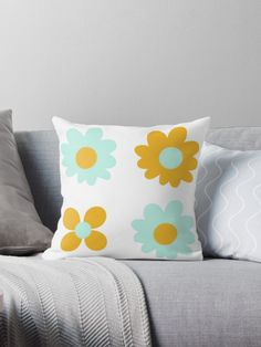 """Cheerful Flowers 2 in Mustard Yellow and Mint Aqua Teal on White. Cute Minimalist Floral Pattern"" Throw Pillow by kierkegaard 