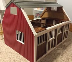 Breyer Horse Barn painted by me for her collection. The raw wood was all stained and boring anyway. #Breyer #DIY #toybarn #breyertraditionalhorse