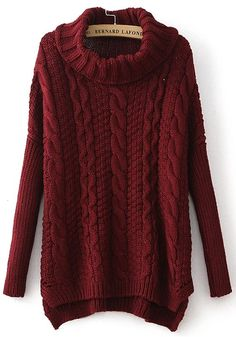 Sweater Love! Gorgeous Color! Cozy Thick Cable Knit Wine Red Plain Irregular Pullover Sweater