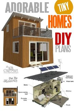 Get these detailed small cabin plans or or container house plans from professional architects with step-by-step assembly instructions! They even have an introductory book for tiny home enthusiasts who Tiny Cabin Plans, Tiny Cabins, Tiny House Cabin, Tiny House Living, Tiny House Design, Tiny House On Wheels, Unique Small House Plans, Small House Floor Plans, A Frame Cabin