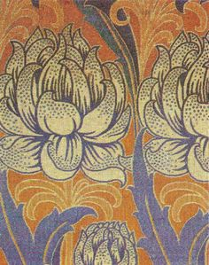 Textile design by C F A Voysey, produced by Alexander Morton & Co in 1896.