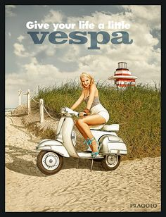 Vespa is an Italian brand of scooter manufactured by Piaggio. The Vespa has evolved from a single model mo. Piaggio Vespa, Vespa Scooters, Moto Scooter, Lambretta Scooter, Scooter Garage, Moto Bike, Vespa Vintage, Pub Vintage, Vespa Retro