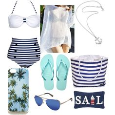 """Beach Wear """"Sail Away"""" Look by hailz04 on Polyvore featuring Karen Walker, Forever 21 and Sperry Top-Sider"""