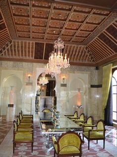 Velvet chairs, gorgeous chandeliers and an intricately ornamental Moroccan wooden ceiling. Morrocan Interior, Moroccan Decor, Wooden Ceilings, Luxury Decor, Decoration, Sweet Home, Velvet Chairs, Fair Grounds, Ceiling Lights