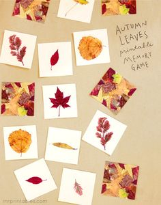 Fall Autumn Leaves Printable Memory Game - Pinned by – Please Visit for all our pediatric therapy pins Mr Printables, Printable Games For Kids, Memory Games For Kids, Preschool Printables, Free Printable, Autumn Crafts, Nature Crafts, Autumn Leaves Craft, Fall Preschool