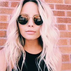 Vintage sunglasses  messy wavy hair