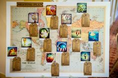 A lovely vintage travel themed seating plan. (Could use tables named after destinations from the honeymoon places)