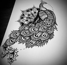 Chic black-and-white peacock on mandala bsckground tattoo design