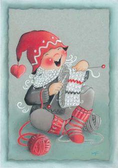 "From the ""Ilmaveivi [Michigan] series,"" of Christmas cards -- by Kaarina Toivanen, Finnish Illustration Noel, Christmas Illustration, Illustrations, Vintage Christmas Cards, Christmas Art, Vintage Cards, Xmas, Knitting Humor, Hand Knitting"