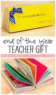 Thank your teacher with this amazing book full of memories, quotes, drawings, and CASH! Such a cute idea!