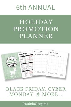 The 2021 Holiday Promotion Success Kit is the ultimate planner to capture holiday sales.6th ANNUAL - REVISED AND UPDATED FOR 2021 WITH NEW PAGES AND MORE HOLIDAY PROMO IDEASUse this 4th Quarter Planner to plan your custom holiday promotions as well as Christmas, Thanksgiving, Black Friday, Cyber Monday, Giving Tuesday, and more. Buy Now! #blackfriday Social Media Cheat Sheet, Holiday Planner, Budget Template, Holiday Sales, Cyber Monday, Black Friday, Tuesday, Budgeting, Promotion