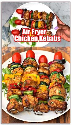 Easy, Air Fryer Grilled Chicken Kebabs or kabobs is a quick recipe that uses chicken breasts and fresh veggies to create a healthy meal served on BBQ skewers. This post will show you how to make tender and juicy grilled chicken in the air fryer. Air Fryer Recipes Breakfast, Air Fryer Oven Recipes, Air Fryer Dinner Recipes, Air Fryer Chicken Recipes, Air Fryer Recipes Videos, Air Fryer Recipes Gluten Free, Breakfast Cooking, Air Frier Recipes, Air Fryer Healthy