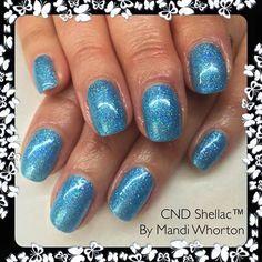 Mandi Whorton uses #lecente blue holographic #glitter over Azure Wish #nails #nailart #blue