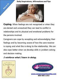 March 25 Daily CareGiver Affirmation: Coping #caregiver #caregiving #familycaregiver