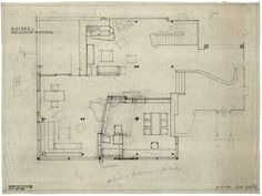 drawing for library alterations | Villa Mairea | Noormarkku, Finland | Alvar Aalto 1941