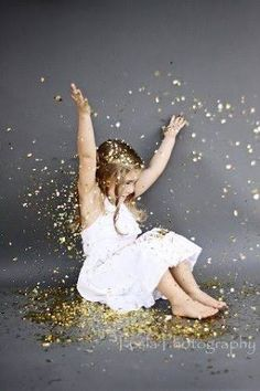 Image result for gold glitter falling on child
