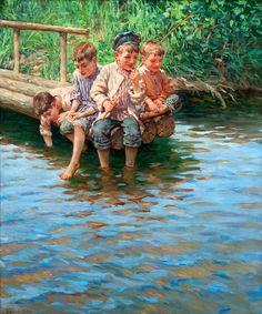 BOGDANOV BEL'SKY, NIKOLAI - Four boys go fishing on the shore