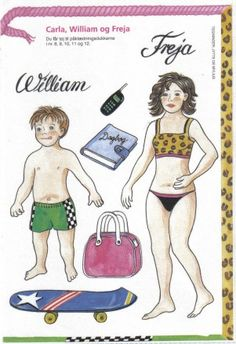 (⑅ ॣ•͈ᴗ•͈ ॣ)♡                                                             ✄Danish paper dolls, Carla, William and Freja