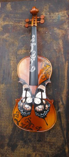 Painted violin amazing violin --butterflies look great as an adornment on…