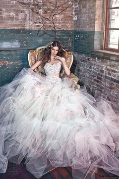 galia lahav spring 2016 bridal dresses cap sleeves filigree embroidered high neckline bohemian tulle ruffles wedding dress belle