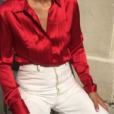 Vintage stunning 100% silk red pleated button up best fits s/m $44 + shipping SOLD