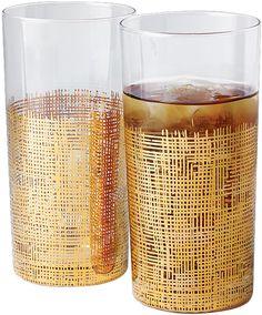 Crosshatch Drinking Glass-Gold-Tall